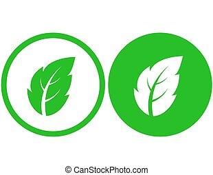 two icons with green leaf