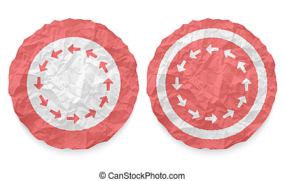 two icons with texture crumpled paper and arrows