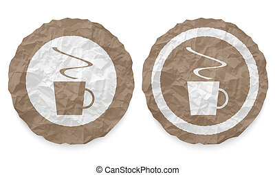 two icons with texture crumpled paper and cup of coffee