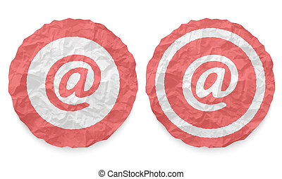 two icons with texture crumpled paper and email symbol