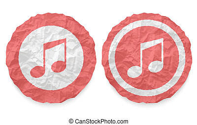 two icons with texture crumpled paper and music symbol
