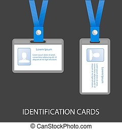two ID cards on a blue cord