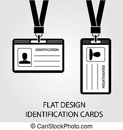 two identification card with a photo pass in the flat style
