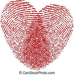 two in love - fingerprint heart, vector