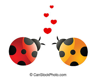 two in love ladybirds