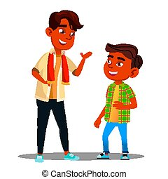Two Indian Boys Talking To Each Other Vector. Isolated Illustration