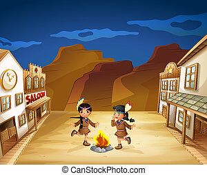 Two Indian girls dancing around the fire - Illustration of...