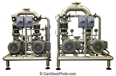 Two Industrial Pumps on White