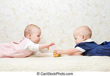 Two infants with apples - Two infants with apple