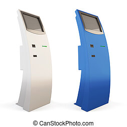 Two interactive kiosk blue and white colors. 3d.