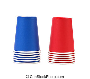 Two inverted stacks of blue and red paper cups