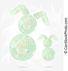 Two isolated, green, easter bunnies, pattern, modern style