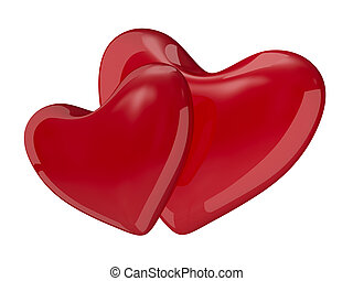 Two isolated hearts on white background. 3D image