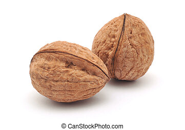 two isolated walnuts