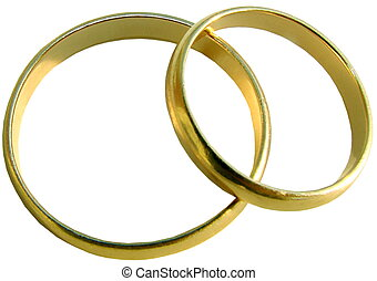 Two isolated wedding gold rings on white background