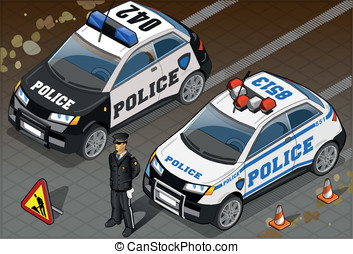 Two Isometric Police Car in Front View - Detailed...