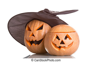 Two Jack O Lantern halloween pumpkins isolated on white