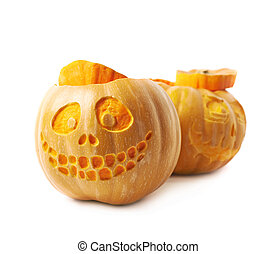 Two Jack-O-Lantern pumpkins isolated