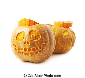Two Jack-O-Lantern pumpkins isolated