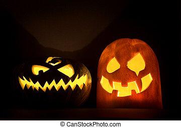 Two Jack-o\'-lanterns