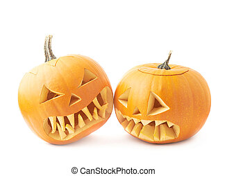 Two Jack-o'-lanterns pumpkin heads