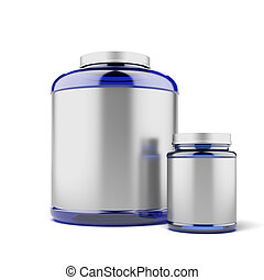 Two Jars for sport supplements isolated on a white background