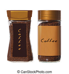 two jars of instant coffee isolated on white