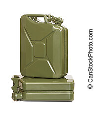Two jerrycans on white