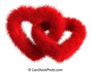 Two joined red plush hearts on white background - Isolated 3D Re