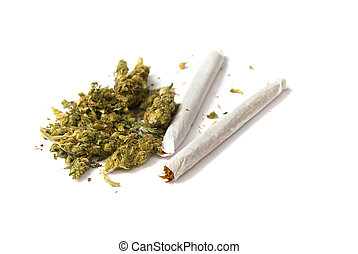 two joints and pot - two joints and a stash of marijuana on...