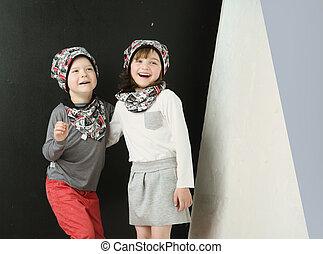 Two joyful children posing together