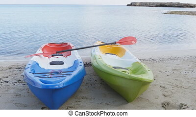 Two kayaks On the beach
