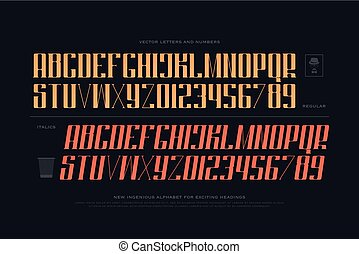 two keen - regular and slanted style alphabet letters and...