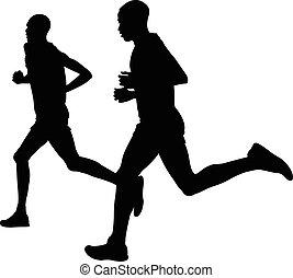 two kenyan runner athlete marathon leaders run black...