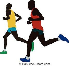 two kenyan runner athlete leaders run marathon