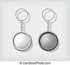 Two key chain pendants mockup