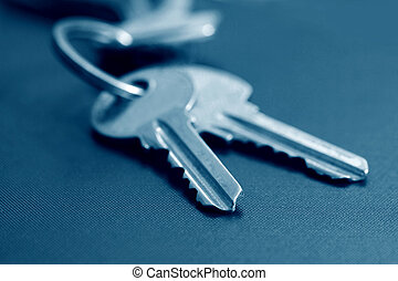 two keys in blue tone