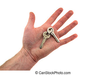 two keys on the palm