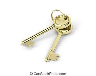 Two keys - Two gold keys on white background