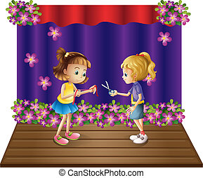 Illustration of the two kids at the center of the stage on a white background