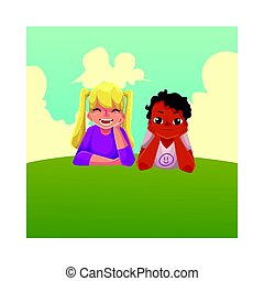 Two kids, black African boy, Caucasian girl, lying on grass