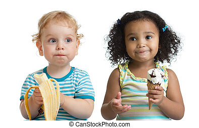 Two kids boy and girl eading fruit and ice cream isolated