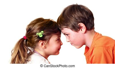 Two kids boy and girl play isolated