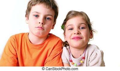 Two kids boy and girl smile isolated