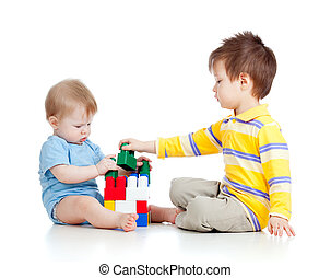two kids brothers paly together, isolated on white background