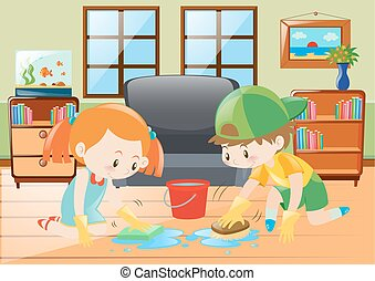Two kids cleaning floor at home