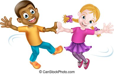 Two Kids Dancing - Two cartoon children, a black boy and a...