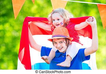 Two kids Dutch celebration national holiday - Two Dutch...