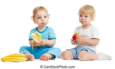 Two kids eating healthy food isolated on white