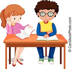 Two kids enjoy reading books illustration